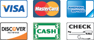 We Accept Visa, MasterCard, Discover, American Express, Cash, and Checks